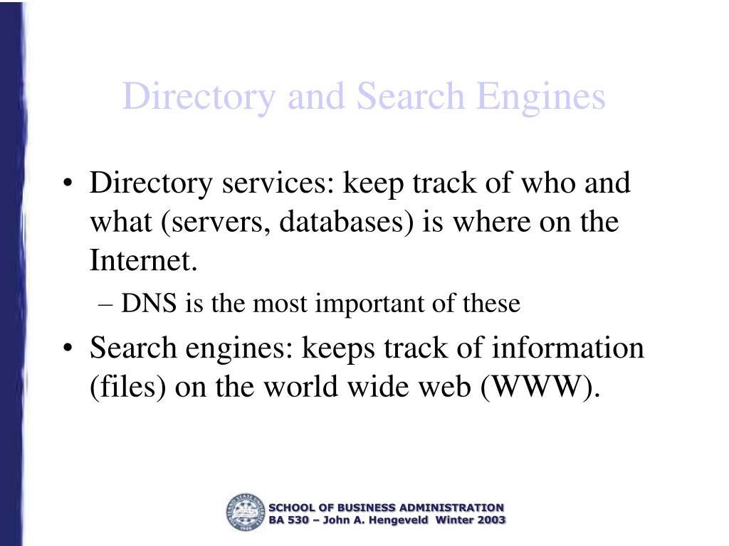 Directory and Search Engines