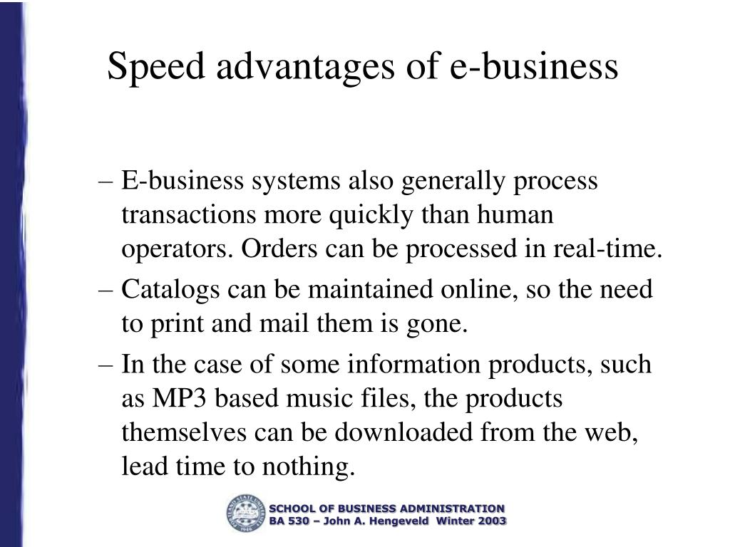 Speed advantages of e-business