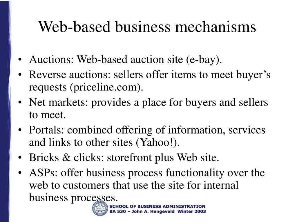 Web-based business mechanisms