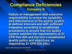 compliance deficiencies company d