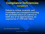 compliance deficiencies company d33