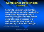 compliance deficiencies company d34