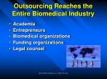 outsourcing reaches the entire biomedical industry