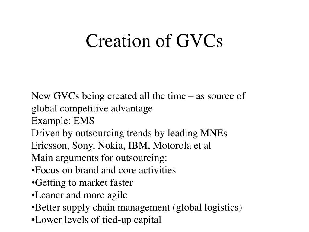 Creation of GVCs