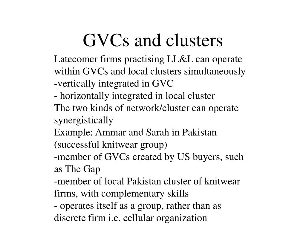 GVCs and clusters