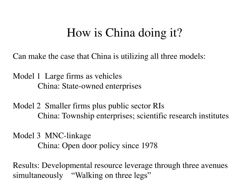 How is China doing it?
