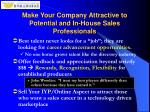 make your company attractive to potential and in house sales professionals