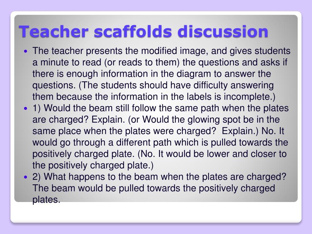 Teacher scaffolds discussion
