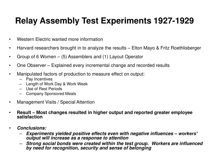 Relay assembly test experiments 1927 1929