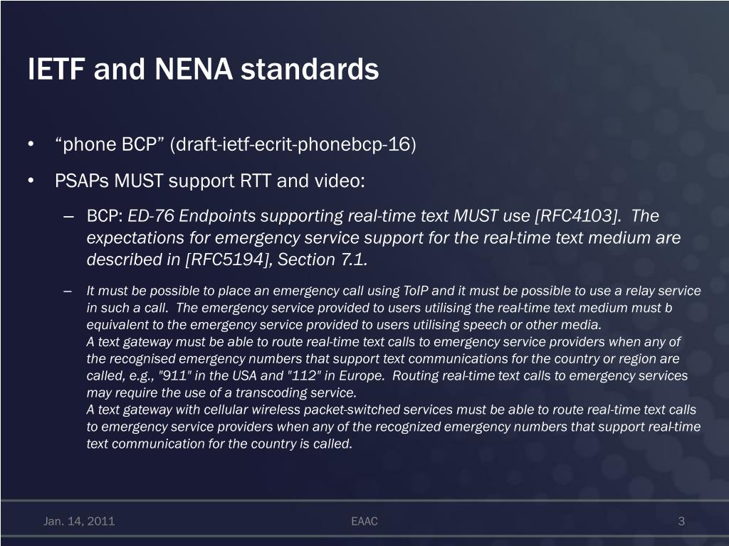 IETF and NENA standards