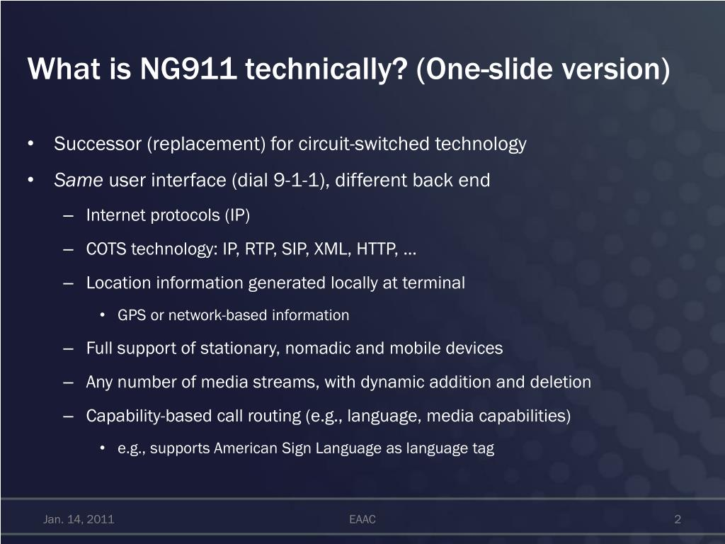 What is NG911 technically? (One-slide version)