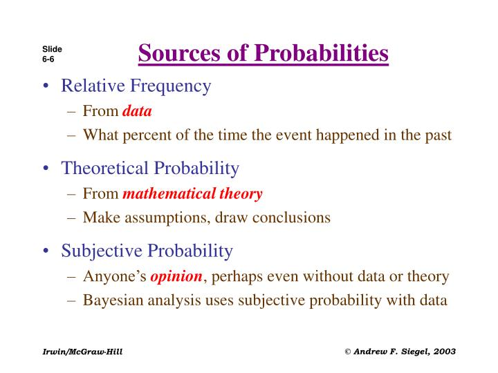 Sources of Probabilities