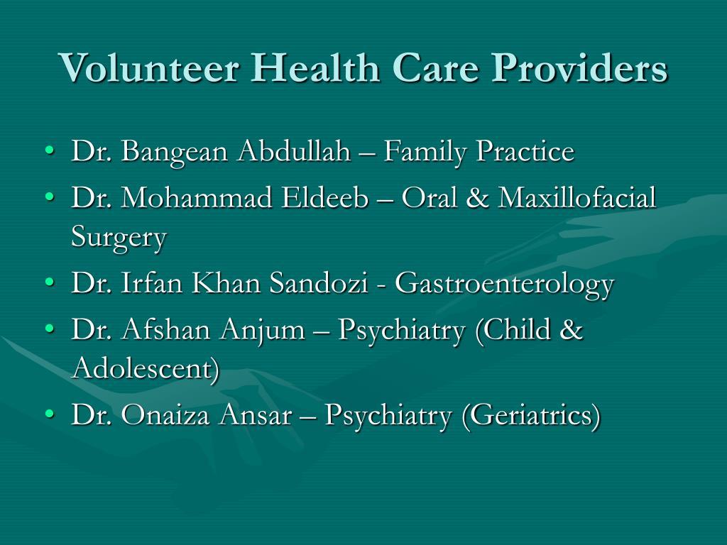 Volunteer Health Care Providers