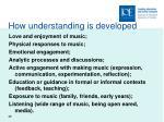 how understanding is developed