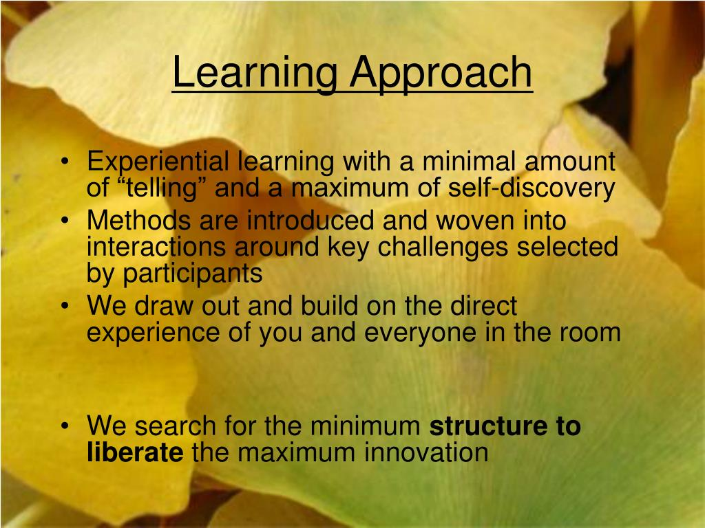 Learning Approach