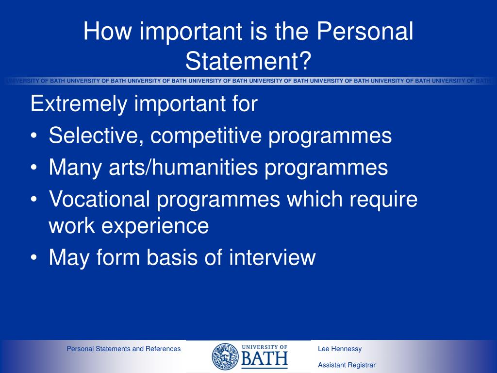 How important is the Personal Statement?