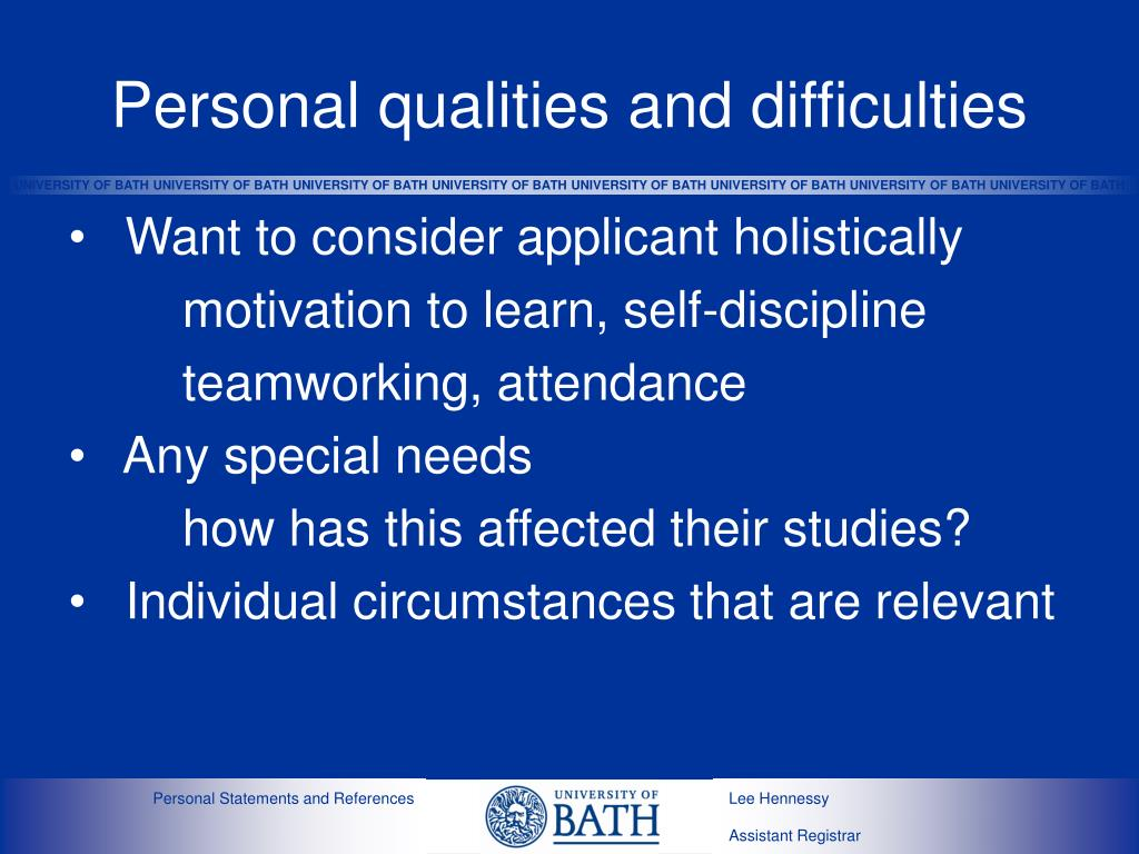 Personal qualities and difficulties