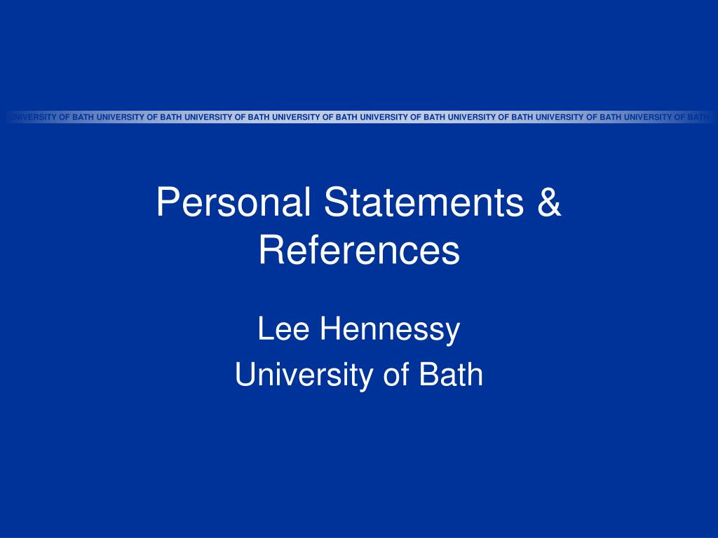 Personal Statements & References