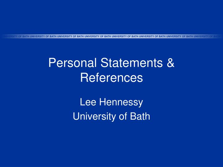 Personal statements references