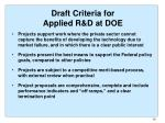 draft criteria for applied r d at doe