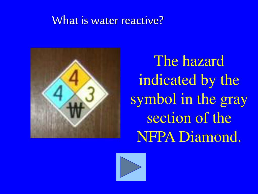 The hazard indicated by the symbol in the gray section of the NFPA Diamond.