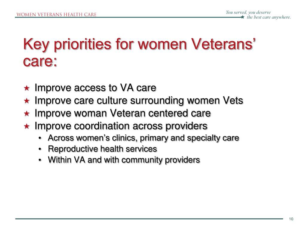 Key priorities for women Veterans' care: