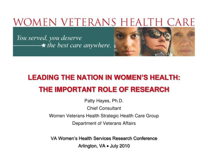 Leading the nation in women s health the important role of research