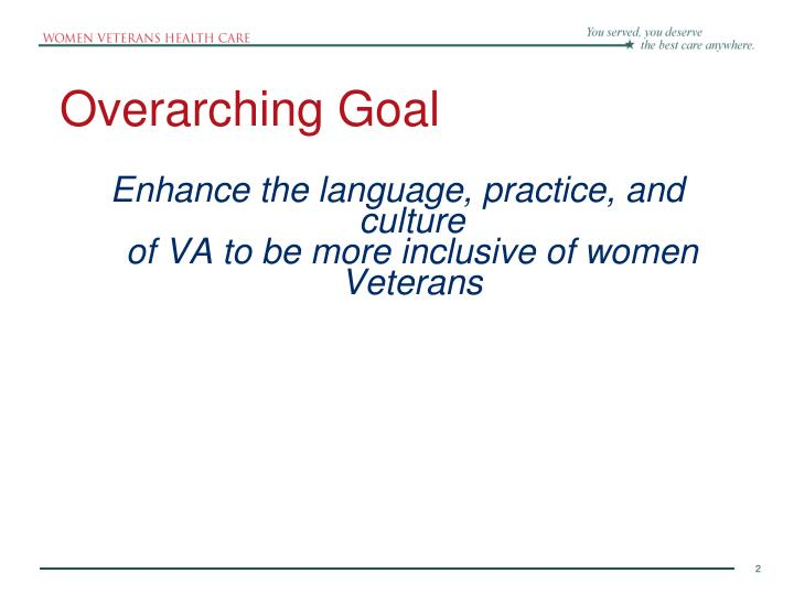 Overarching goal