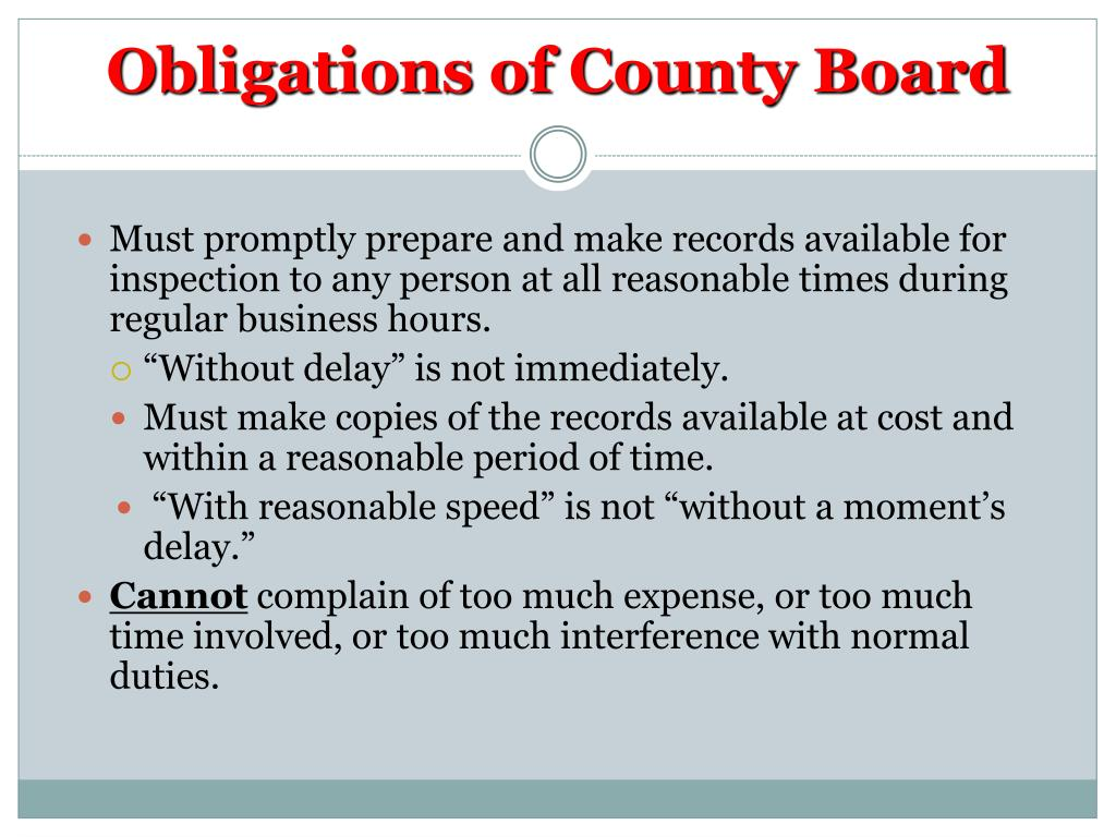 Obligations of County Board