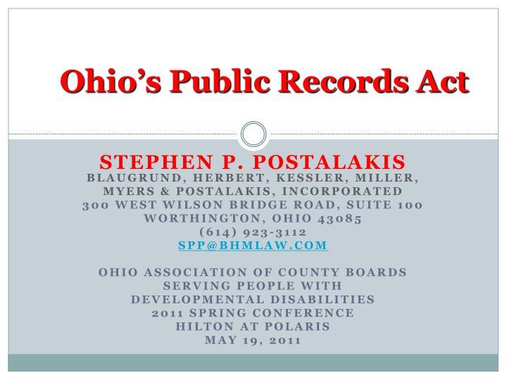 Ohio s public records act