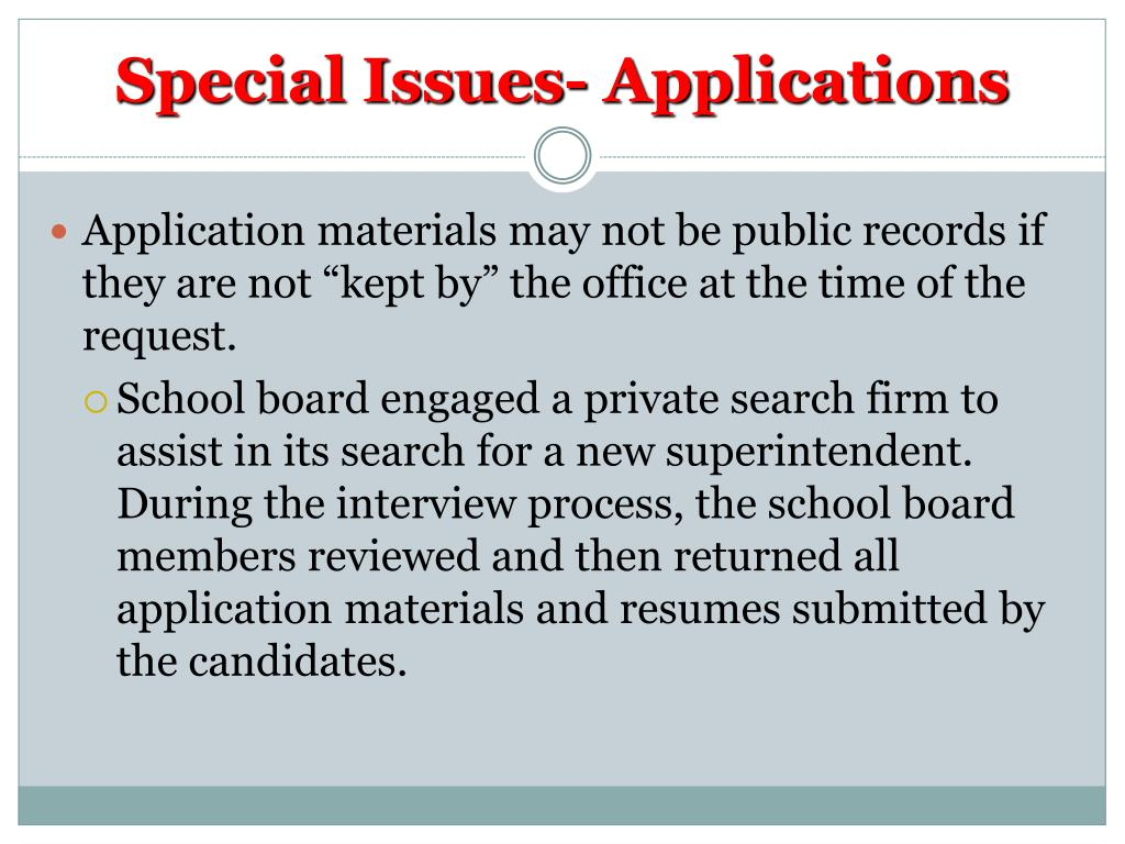 Special Issues- Applications