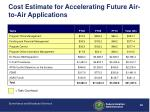 cost estimate for accelerating future air to air applications