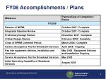 fy08 accomplishments plans
