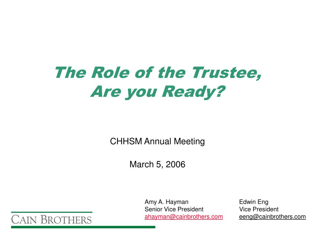 the role of the trustee are you ready l.