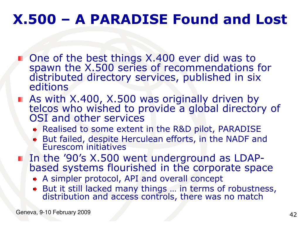 X.500 – A PARADISE Found and Lost