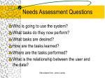 needs assessment questions
