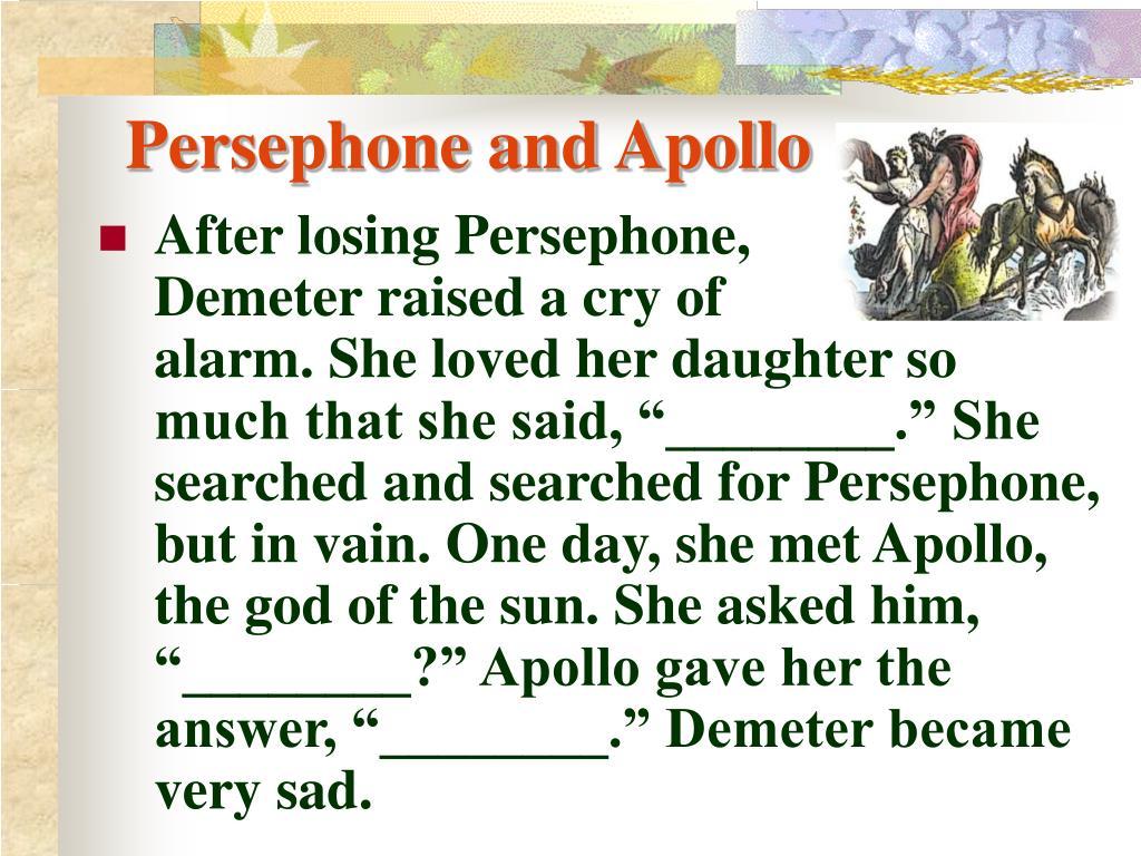 Persephone and Apollo