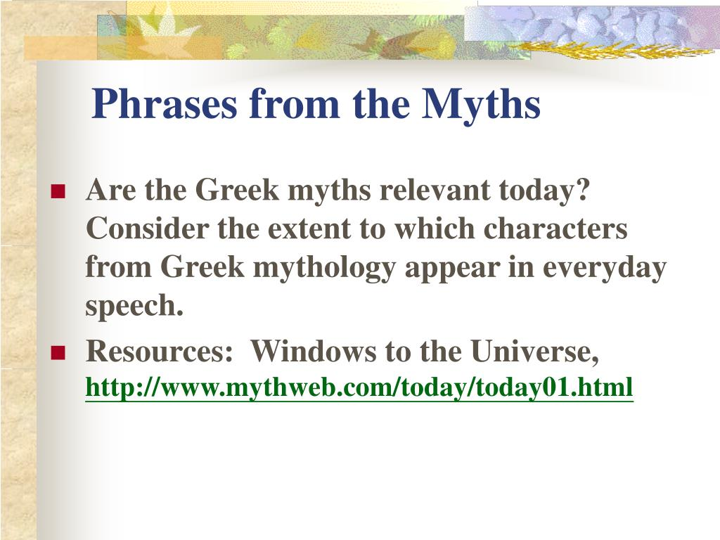 Phrases from the Myths