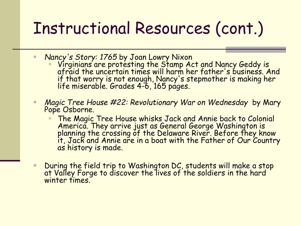 Instructional Resources (cont.)