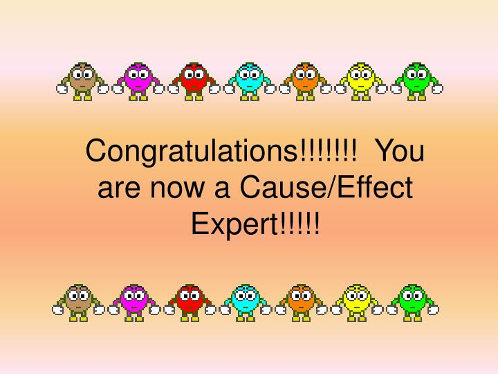 Congratulations!!!!!!!  You are now a Cause/Effect Expert!!!!!