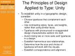 the principles of design applied to type unity