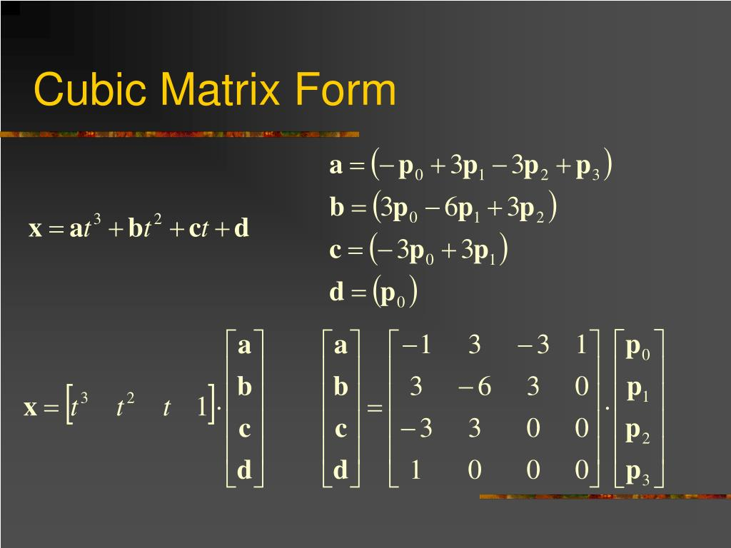 Cubic Matrix Form