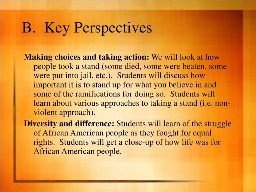 B.  Key Perspectives