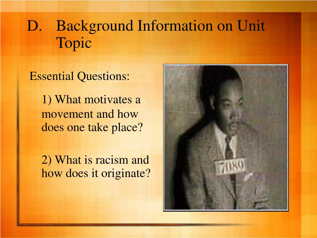 Background Information on Unit Topic