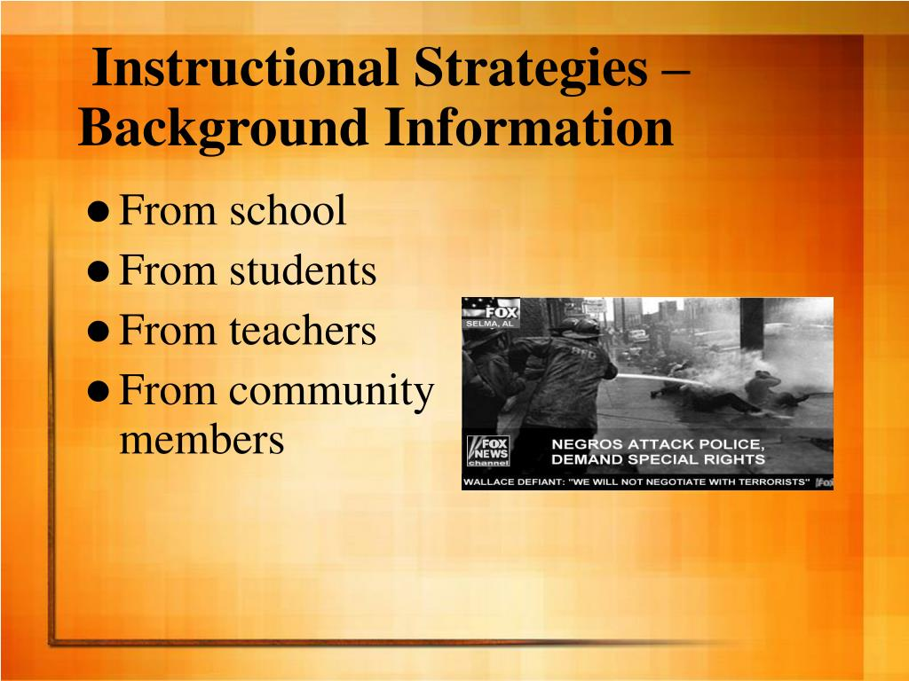 Instructional Strategies – Background Information