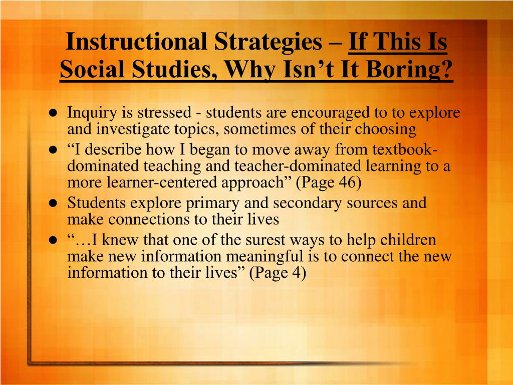 Instructional Strategies –
