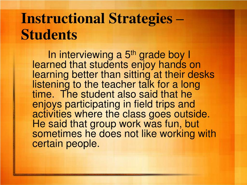 Instructional Strategies – Students