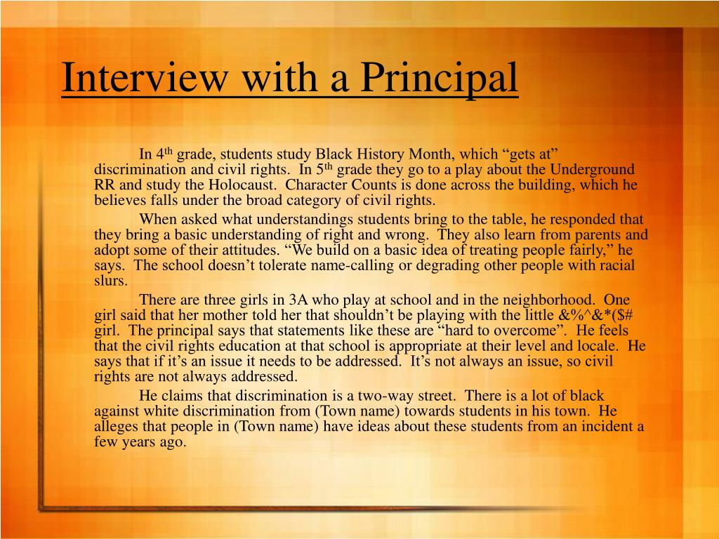 Interview with a Principal