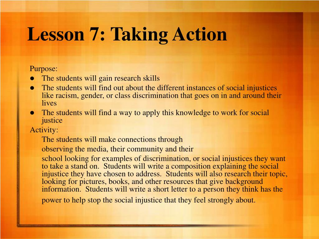 Lesson 7: Taking Action