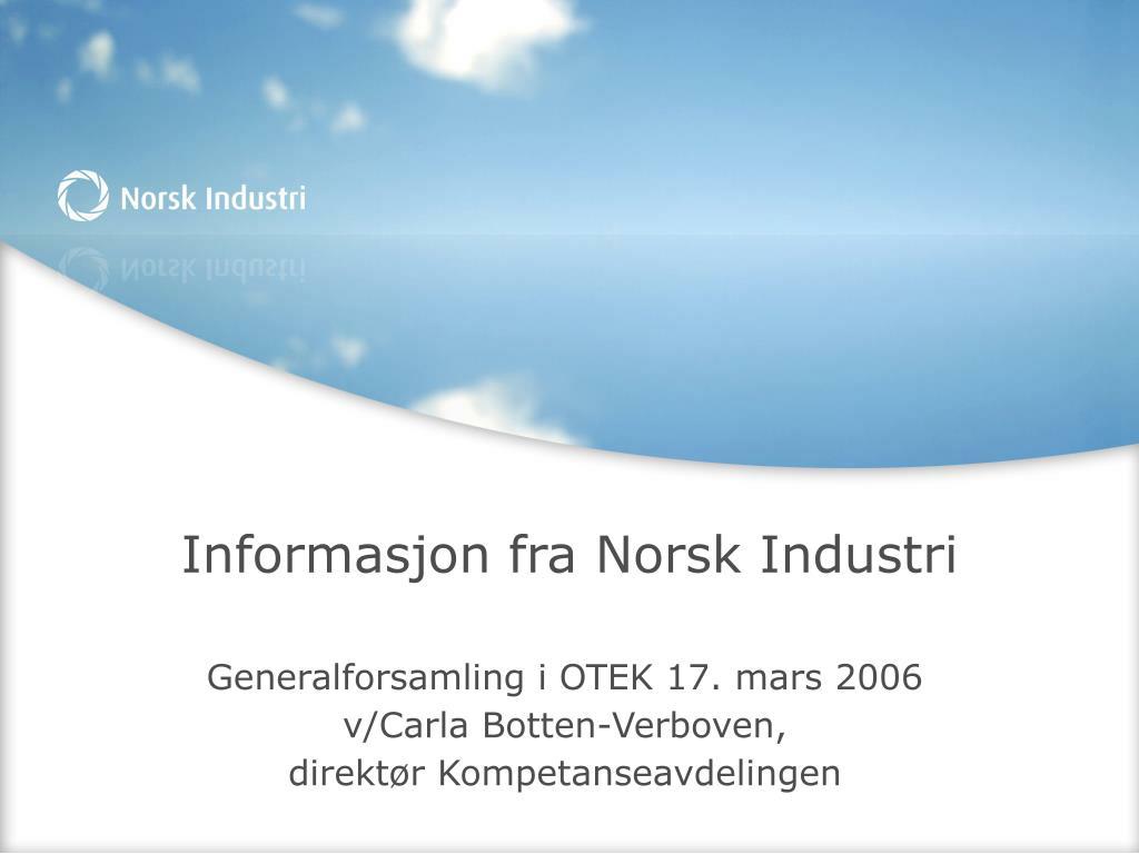 informasjon fra norsk industri